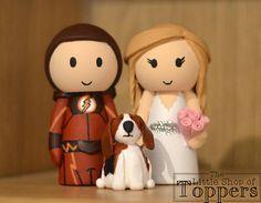 Items similar to Wedding Cake Topper - Superhero & Bride with Pet Dog on Etsy Superhero Cake Toppers, Pet Dogs, Pets, Personalized Wedding Cake Toppers, Cake Table, Mouse Ears, Handmade Items, Handmade Gifts, Wedding Bride