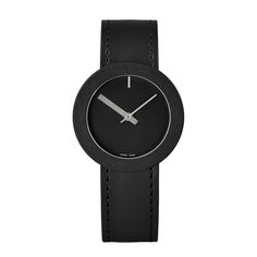 The Halo timepiece features a simple black numberless dial, striking grey hour and minute hands, a Swiss quartz movement and a black calf leather strap. #design #watches