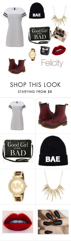 """""""wattpad"""" by logan-jennings ❤ liked on Polyvore featuring Dr. Martens, Torrid, Domo Beads, Michael Kors, Alexis Bittar and Bare Escentuals"""