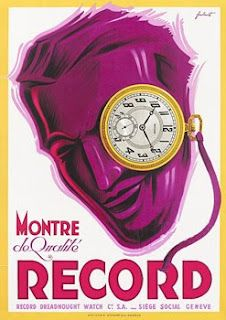 "Art Deco ""Record"" watch poster, ca. '30s."