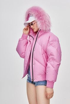 Jazzevar Winter High Fashion Street Designer Brand Womens Short Duck Down Jacket Cute Pink Color Real Fur Outerwear Pink Bomber Jacket, Fur Bomber, Puffy Jacket, Pink Puffer Coat, Push Up Lingerie, Duck Down Jacket, Harajuku Fashion, Lace Bodysuit, Jumpsuits For Women
