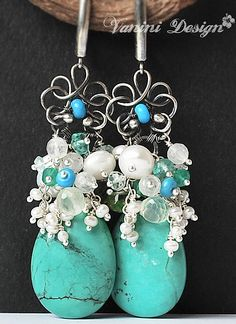 Avalanche de perles-Turquoise,peridot,prehnite,apatite,green onyx,rainbow moonstone,pearls,Fine999 and sterling silver earrings by VaniniDesign, via Flickr