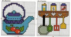 Teapot and spice rack with utensils cross stitch chart Tiny Cross Stitch, Xmas Cross Stitch, Cross Stitch Kitchen, Simple Cross Stitch, Cross Stitch Embroidery, Cross Stitch Patterns, Hobbies And Crafts, Hama Beads, Tea Pots