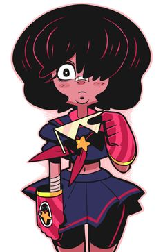 "Young Garnet - she has Sapphire's ""bangs covering your eyes"" thing!"