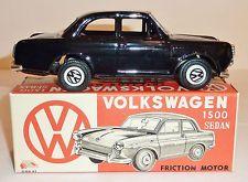 ICHIMURA Japanese Tin Litho Friction 1960s VW / VOLKSWAGEN 1500 2-DR SEDAN / BOX
