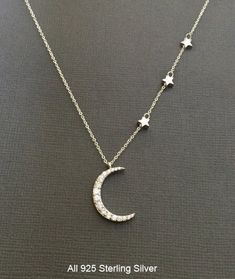 Silver Crescent Moon Necklace, Star necklace, Star and Moon Jewelry, layering… Moon Jewelry, Star Jewelry, I Love Jewelry, Jewelry Necklaces, Jewelry Design, Jewellery Box, Pearl Bracelets, Pearl Rings, Couple Bracelets