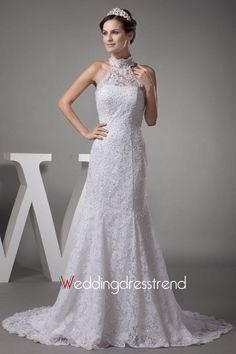 Beaded Sweep Train Sleeveless Wedding Dress http://www.weddingdresstrend.com/en/beaded-chapel-train-sleeveless-wedding-dress.html #Wedding #dress