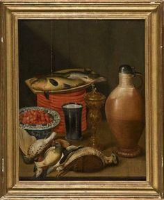 Ecole flamande du XVIIe siècle Suiveur de Cornelis Jacobsz Delft  Nature morte au pichet de grès, coupe de fraises et oiseaux : bécasses, grive et pinson  Panneau de chêne, parqueté  (Fente)  63 x 49 cm (24,57 x 19,11 in.)
