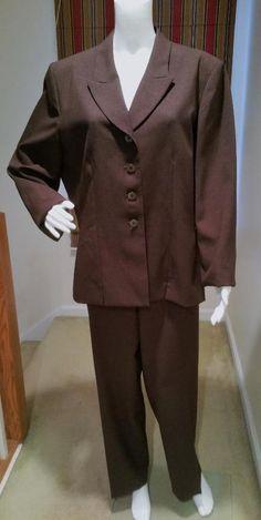 Le Suit Women's Brown Career Pants Suit Size 18 #LeSuit #PantSuit