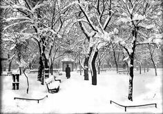 Plaza in winter, Santa Fe, New Mexico, ca. by Jesse Nusbaum. Palace of the Governors Photo Arhives New Mexico Santa Fe, Taos New Mexico, New Mexico Homes, New Mexico Usa, New Mexico History, Santa Fe Plaza, New Mexico Style, Santa Fe Style, New Mexican