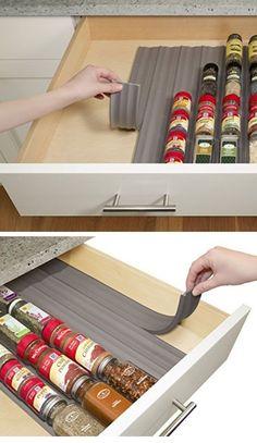 In Drawer Spice Organizer | Easy Kitchen Storage Ideas for Small Spaces | Genius Kitchen Organization Ideas Dollar Store