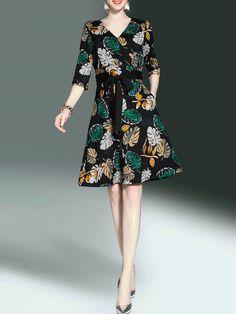 レディース ファッション Vネック 七分袖 プリント エレガント ワンピース - レディースファッション激安通販|20代·30代·40代ファッション