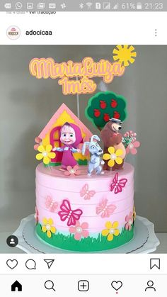 Baby Boy Birthday Cake, 1st Birthday Party For Girls, 4th Birthday Cakes, Diy Cake Topper, Cake Toppers, Marsha And The Bear, Cake Decorating For Beginners, Strawberry Decorations, Ballerina Cakes