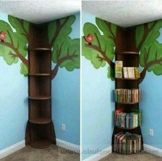 Tree Bookshelf This is simple enough. then could add fake leaves flowers fairy lights etc The post Tree Bookshelf This is simple enough. then could add fake leaves flowers fairy lights etc appeared first on Children's Room. Flower Fairy Lights, Tree Bookshelf, Bookshelf Ideas, Tree Shelf, Kids Book Shelves, Bedroom Bookshelf, Nursery Bookshelf, Bookshelf Design, Ideas For Bookshelves