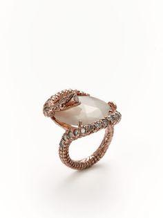 Moonstone & Diamond Snake Ring