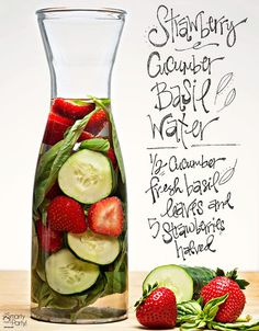 Strawberry Cucumber Basil infused water | Smarty Had A Party