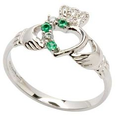 Silver Claddagh Part Stone Set Ring: To win this ring, enter the #giveaway here, before August 21, 2013: http://www.irishcelticjewels.com/celtic-wedding/2013/08/august-giveaway-silver-claddagh-birthstone-ring/