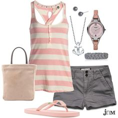 """Pink Stripe"" by jayneann1809 on Polyvore"