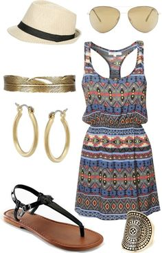 Music Festival Outfit Idea! The patterned dress is a must for an outdoor concert.