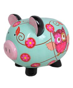 Teach a little one about saving money with this adorable piggy bank. With its classic look and incredibly bold paint job, this piece will look fantastic in any child's room.6.6'' W x 5.75'' H x 7.75'' DCeramicImported