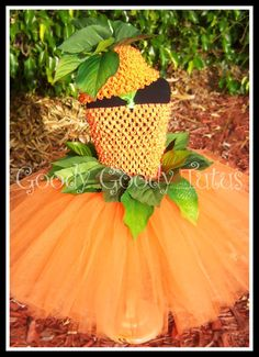 LITTLE MISS PUMPKIN Crocheted Tutu Dress with Cap by goodygoodytutus