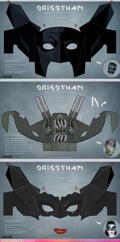 ORIGOTHAM! Fold Your Own Batman, Bane, and Catwoman Masks! I'M GEEKING OUT MAN!