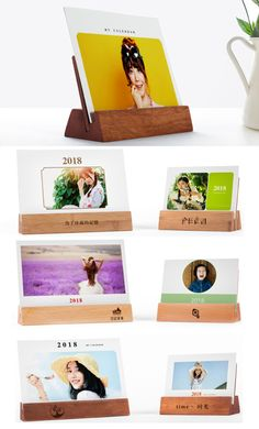 Wooden iPhone Cell Phone SmartPhone Holder Stand Mount Business Card Holder Display Stand Place Card Holder Photo Card Holder for iPhone iPad and Other Cell Phone