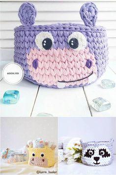 cesta de croche com fio de malha infantil - enxoval - DIY - artesanato