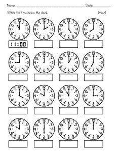 Clocks - Tell Time to the nearest Hour, Half Hour, Quarter Hour, and 5 minutes Clock Worksheets, 3rd Grade Math Worksheets, Math Workbook, School Worksheets, 1st Grade Math, Second Grade, Teaching Time, Math Lessons, Spanish Lessons
