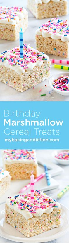 Birthday Marshmallow Cereal Treats are topped with buttercream frosting and loaded with sprinkles. So perfect for any celebration! **Be sure to use GF crisp rice cereal + GF sprinkles for a GF treat! Homemade Rice Krispies Treats, Rice Crispy Treats, Krispie Treats, Yummy Treats, Sweet Treats, Homemade Cereal, Easter Recipes, Snack Recipes, Dessert Recipes