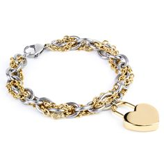 ELYA Women's Stainless-steel Double-chain Bracelet with Heart Charm | Overstock™ Shopping - Big Discounts on West Coast Jewelry Stainless Steel Bracelets