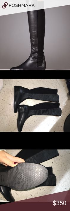 "BLACK FRIDAY DEAL: Stuart Weitzman Lander boots Brand new never worn  Details Iconic pull-on style with stretch back  Hidden covered wedge heel, 2"" (50mm) Shaft front, 19.5"" Shaft back, 18"" Leg circumference, 13"" Leather lining Rubber sole Padded insole Imported Stuart Weitzman Shoes Over the Knee Boots"