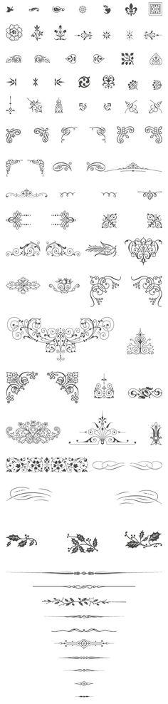 85 Free Vintage Vector ornaments:
