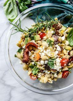 Crispy Bacon Pasta Salad with Fresh Herbs.