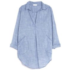 CP Shades Teton Chambray Shirt Dress ($212) ❤ liked on Polyvore featuring dresses, tops, shirts, blouses, blue, blue chambray dress, cp shades dress, oversized dress, long shirt dress and shirt-dress