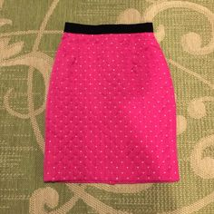 Escada Pink Gold Polka Dot Skirt What is that, VELVET?!?  Yep! The trim at the waist is. So, I'm a little upset this does not fit, but I'll get over it. Very fine skirt in very good condition. If I had to nit-pick, and I will, the seam at the back is a little stretched. Normal wear. Escada Skirts