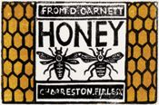 Honey Label Design for David Garnett, Dora Carrington, Two-color woodcut. Collection of Bannon and Barnabas McHenry. Dora Carrington, Beauty And The Bees, Plan Bee, Vintage Labels, Vintage Bee, Vintage Packaging, Vintage Cards, Vintage Prints, Honey Label