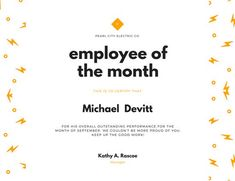 Certificate templates green award certificate powerpoint employee of the month certificate template orange lightning employee of the month certificate templates by yelopaper Images