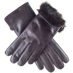Black Dark Brown Rabbit Fur Lined Leather Gloves (£79) ❤ liked on Polyvore featuring accessories, gloves, leather gloves and black gloves