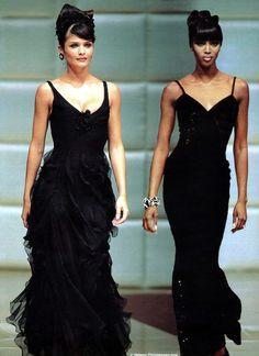 Helena Christensen & Naomi Campbell .. Valentino Haute Couture.  Fall 1995