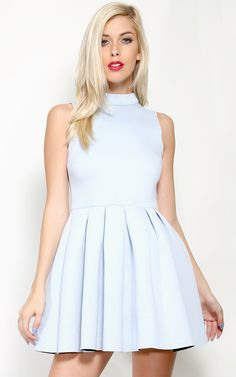 Scuba high neck pastel pleated dress, with a babydoll waist! | MakeMeChic.com