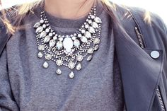 A flashy necklace layered over a heather gray sweatshirt is one of my favorite things.