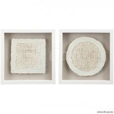 J-Line Vierkante kader met vierkant en cirkel in gebroken wit-creme 35 Assortiment van 2 stuks