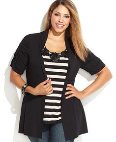 INC International Concepts Plus Size Rosette Layered Striped Top