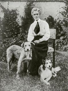 British nurse & patriot Edith Cavell, famed for her brave and compassionate service in World War I,  and her canine companions.