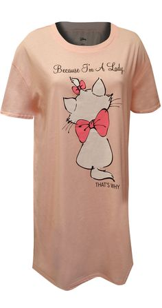 This nightshirt is perfect for the feisty ones among us! These pretty, super soft, nightgowns for women feature Marie from Disney's Aristocats. These nightshirts are made from premium fabric. Best Pajamas, Disney Pajamas, Lounge Pants, Lounge Wear, Night Shirts For Women, Marie Aristocats, Nightgowns For Women, Cool, Funny Cute