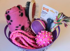 Pink and Purple girl puppy welcome basket gift handmade by Southern Dog Supplies