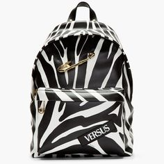 976e20fe4a Zebra Print Gold Safety Pin Backpack by Versus Versace -  775 Dope Fashion