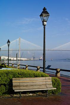 The Savannah River with the Talmadge Bridge in the distance. • Savannah, GA