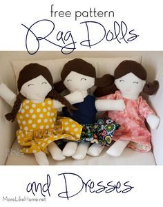 Long Sleeve Rag Doll Dress Tutorial for a super easy and super versatile rag doll dress pattern. It's reversible so it's like two dresses in one! (there's also a tutorial for a doll to go with it) Doll Patterns Free, Doll Sewing Patterns, Doll Dress Patterns, Sewing Dolls, Crochet Patterns, Pattern Dress, Free Pattern, Sock Dolls, Doll Toys